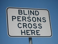 Blind persons cross here