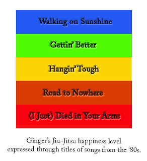 Ginger's Jiu-Jitsu happiness level expressed through titles of songs from the '80s.