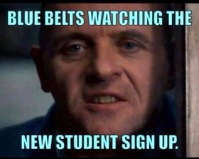 blue belts watching the new students sign up