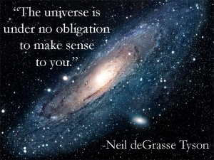 """The universe is under no obligation to make sense to you."" -Neil deGrasse Tyson"