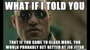 What if I told you if you came to class more, you would probably get better at Jiu-Jitsu.