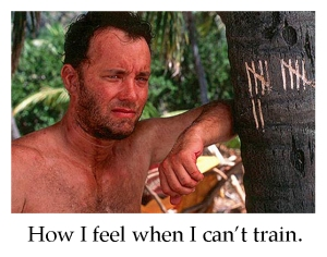 Castaway- how I feel when I can't train.