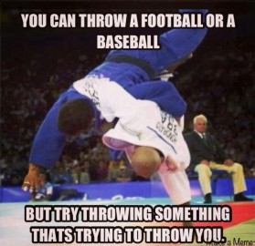 You can throw a fottball or baseball, but try throwing something that's trying to throw you.