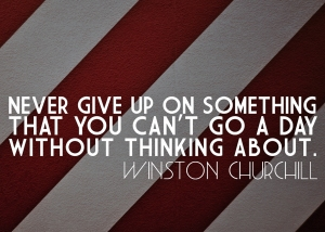 """Never give up on something that you can't go a day without thinking about."" -Winston Churchill"