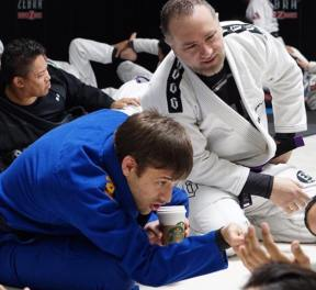 Professor Greg and I both love jiu-jitsu and coffee!