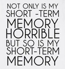 Not only is my short-term memory horrible, but so is my short-term memory.